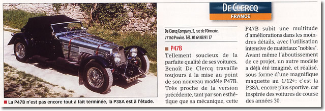 Article Automobile magazine DE CLERCQ P47A 1999-2000